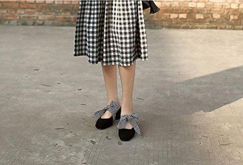 Sandalias Shoes negro correas cuadrado AJUNR salvaje Transpirable 35 6cm zapatillas Heel con audaces Baotou Moda 39 elegante de alto HHtqPa