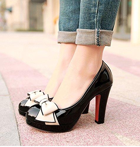 Easemax Femmes Bout Rond Doux Coupe Basse Chunky Chaussures À Talons Hauts Chaussures Avec Des Arcs Noirs