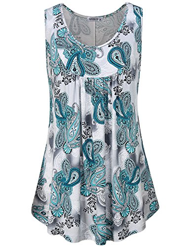 MOQIVGI Fancy Blouses for Women,Ladies Sleeveless Tops Stylish Elegant Business Casual Clothes Summer Wear Scoop Neck Trapeze Flowy Pleated Shirts Vintage Paisley Tunics Multicoloured Green (Paisley Vintage Tunic)