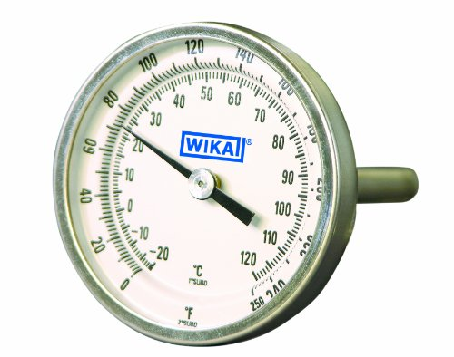 WIKA TI.20 Stainless Steel 304 OEM Industrial Bi-Metal Thermometer, 2'' Dial, 0/250 Degrees F/C, 2-1/2'' Stem, 1/4'' NPT Connection by WIKA (Image #1)