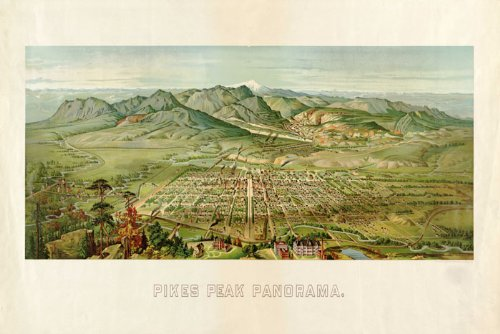 1800's City of Pikes Peak Panorama Colorado Map Bird Eye View Image Size Poster