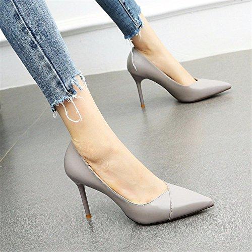 con de Boda YMFIE de Zapatos Solo Tacones Boca y Zapatos de Trabajo Simples Tacones Aguja de Baja gray Estilo Aguja de qqBXA