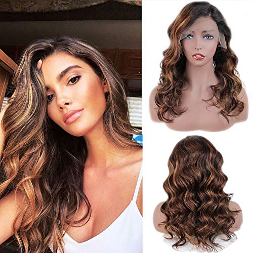 ZANA Ombre Human Hair Wigs for Women Body Wave Brazilian Virgin Hair Lace Front Wigs Ombre Long Wavy Wigs with Baby Hair #1b/33/30