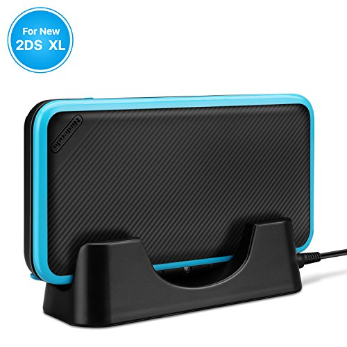 TNP New 2DS XL Charger Dock - USB Charging Stand and Vertical Storage Cradle Station with Charging Port Cable Accessories for New Nintendo 2DS XL LL 2017 (Black)