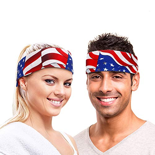 ThinkMax USA Headband , 2 Pack American Flag Patriotic Headband Bandanas for Men and Women, Independence Day 4th of July ()