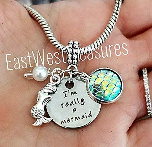 (I am really a mermaid scales ocean beach Charm Pendant-for charm bracelets & chain Necklace)