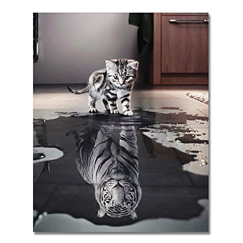 (Rihe Paint Numbers Kit DIY Oil Painting Adults Beginner- Cat Tiger 16x20inch (Frameless) )