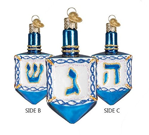 Dreidel Blue and White Glitter Glass Christmas Ornament (Ornament Jewish)