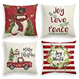 artoid 4 pack winter christmas throw pillow cover snowman truck wreath holiday saying quote linen