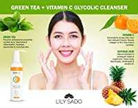 NEW LILY SADO TEA+C Green Tea and Vitamin C Glycolic Acid Exfoliating Cleanser - Anti-Aging + Acne Face Wash - Prevents Blackheads, Dark Spots, Oily Skin - Reduces Wrinkles, Fine Lines, Acne Scars brought to you by LILY SADO