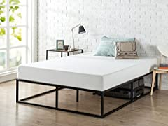 This sturdy modern Studio platforma mattress foundation is designed for strength and style. Perfect for those preferring a modern style. The extra strength steel framed mattress foundation by Zinus features wooden slats that provide strong su...