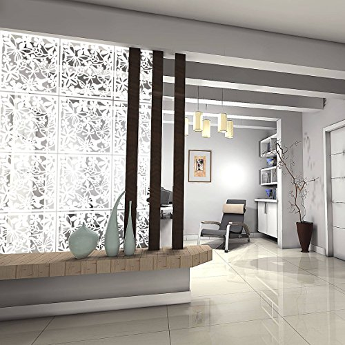 Kernorv DIY Hanging Room Divider Made of Environmentally PVC, 12 PCS Partitions Panels Screen for Decorating Beding, Dining, Study and Sitting-room, Hotel, Bar and School. (12, White) (Panel One Room Divider)