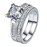 Sterling 925 Silver 2CT Princess Jewelry NSCD Simulated Diamond Princess Wedding Rings Set for Women