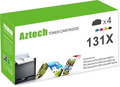 4 Pack Laser Toner (Aztech 4 Packs 131X KCMY New Replacement for HP131A CF210A 131X CF210X CF211A CF212A CF213A Toner Cartridge for use with LaserJet Pro 200 color M251nw, LaserJet MFP M276nw)