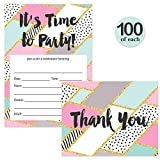 Pastel Invitations & Matched Thank You Cards Set with Envelopes ( 100 of Each ) Celebrate Any Occasion Geometric Fill-in Guest Invites & Folded Thank You Cards B'day Graduation Best Value Combination