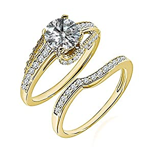 0.99 Carat G-H I2-I3 Diamond Engagement Wedding Anniversary Halo Bridal Ring Set 14K Yellow Gold
