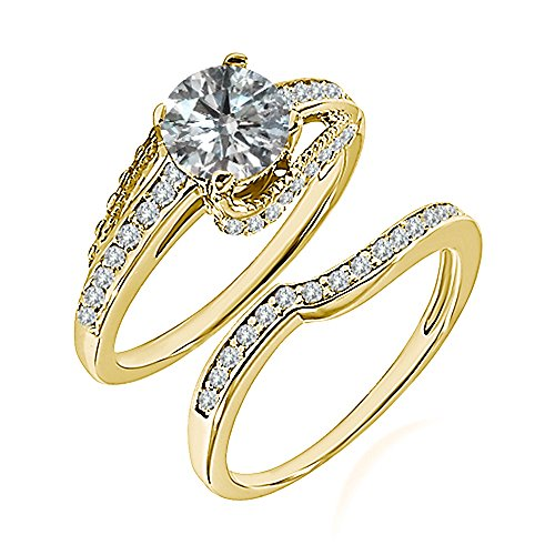 0.99 Carat G-H I2-I3 Diamond Engagement Wedding Anniversary Halo Bridal Ring Set 14K Yellow Gold ()