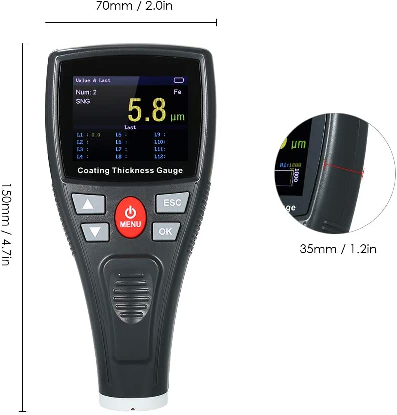 KKmoon Digitales lackmessger/ät Schichtdickenmessger/ät mit Farbe LCD Fe Probe Autolacklack Autolackierung Lacktester Meter