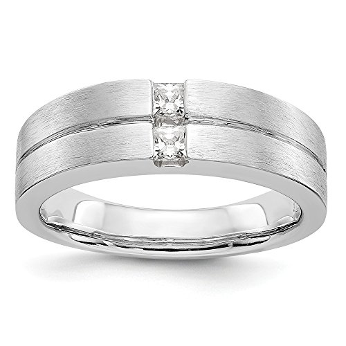 JewelrySuperMart Collection 1/4 CT 14k White Gold AA Diamond Men's Band. 0.24 ctw. Size 6