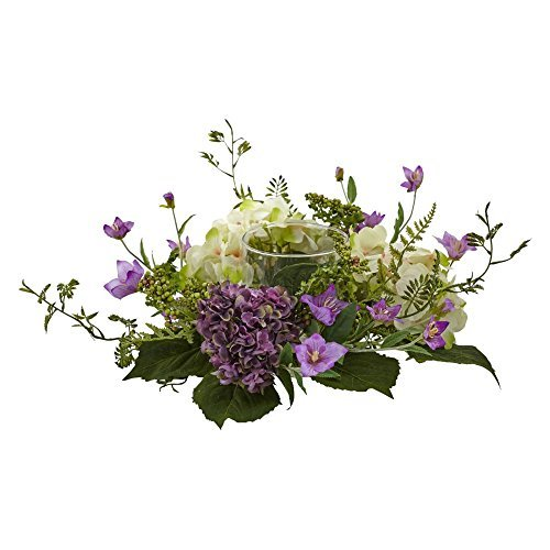 - Nearly Natural 4532 7in. Mini Hydrangea Berry Candelabrum Silk Arrangements Purple