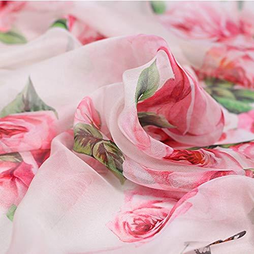(Buntha.winee7098 Printed Organza Fabric Pink Rose High Grade Digital Painting Natural Chiffon Organza Silk Fabric for Dress Shirt Christmas Fabrics Patchwork Tissu)