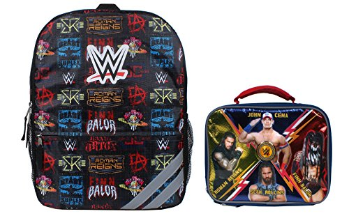 WWE Grand Slam Wrestling Champion Icons 16 inch Backpack with Side Mesh Pockets and WWE Powered Insulated Lunch Box 2 Piece Set by