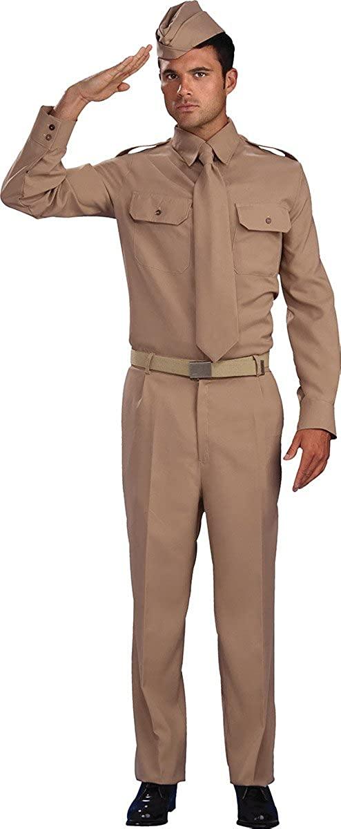 Nice Amazon.com: Menu0027s 1940u0027s Military Fancy Dress Party Outfit Ww2 Private  Soldier Costume: Clothing