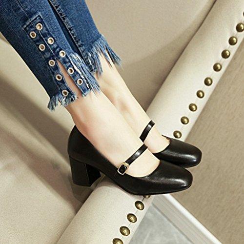 Chiusi Nero Xinwcang Grosso Elegante Cinturino Donna Scarpe Tacco con Sandali B4TpH