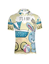 C COABALLA World Stylish Polo Shirt,Face of Earth in Space View of Asian and Australian Continents and Galaxy for Men,S