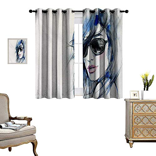 Urban Blackout Window Curtain Woman with Sunglasses and Blue Hair Hand Drawn Art Watercolor Portrait Customized Curtains W63 x L45 Coconut Blue and Black ()