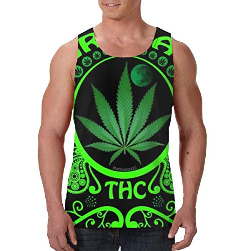 FANTASY SPACE Sleeveless Vest Undershirts for Men Boys Teens Adult Sweatproof Workout & Training Activewear Tank Shirts Vests Comfort Soft Regular Fit Shirts, Green Marijuana Leaf Flag Weed