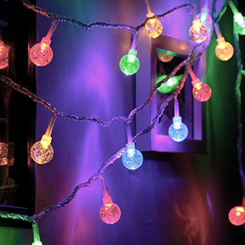 Ollny Globe String Lights 33Ft 60 LEDs Multi Color Plug in for Bedroom Indoor Outdoor Fairy String Lights with Remote and Timer for Christmas Wedding Party New Year Garden Decoration Waterproof]()