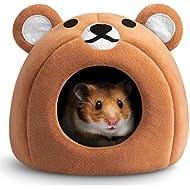Hollypet Warm Small Pet Animals Bed Dutch Pig Hamster Cotton Nest Hedgehog Rat Chinchilla Guinea Habitat Mini House, Brown Teddy Bear