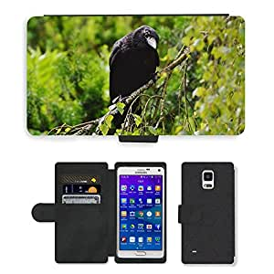 Hot Style Cell Phone Card Slot PU Leather Wallet Case // M00109133 Raven Crow Bird Black Raven Bird // Samsung Galaxy Note 4 IV