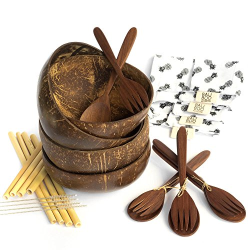 4 Coconut Bowls by Bali Boo   100% Natural, Reusable, Washable   Includes 4 Cutlery Set with 1 Wooden Fork, 1 Wooden Spoon, 2 Bamboo Straws, 1 brush cleaner and a cotton pouch   Handmade in Bali (Salad Shell Fork)