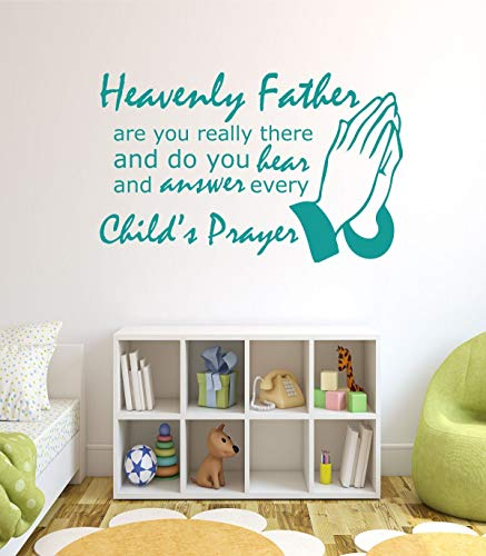 (Dozili Religious Wall Decals - Heavenly Father are You Really There and Do You Hear and Answer Every Child's Prayer - Song Lyric Wall Art, 24