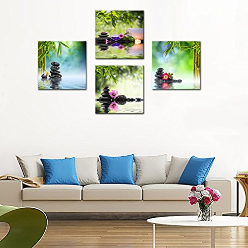 4 Panels Wall Art Canvas Prints Stones Flowers and Bamboo on Water SPA Still Life Modern Artwork Stretched and Framed for Home Living Room Decoration (30cmx30cmx4pcs) by MOCO ART (Image #4)