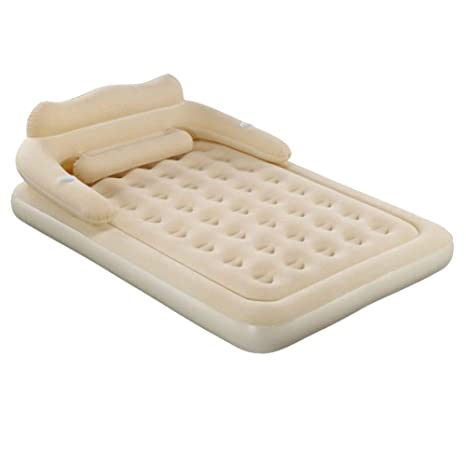 Hopelj Double Air Bed Inflatable Mattress With Headboard Blow