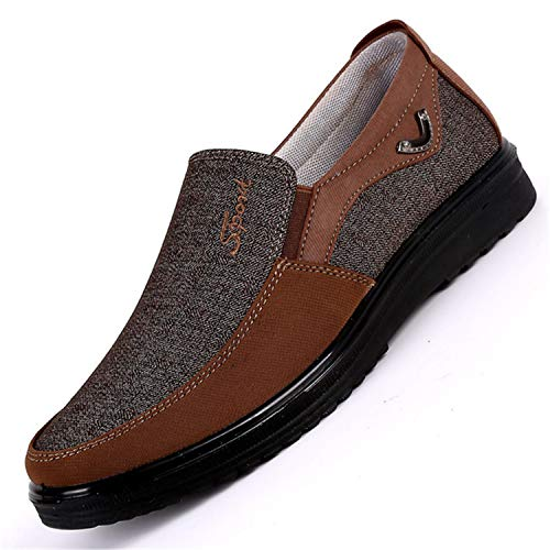 Sell Like Hot Cakes Brand Shoes Men Adult Rubber Solid Slip On Flats Breathable Comfort TeMasculino Adulto Sapato Zapatos Brown 8.5
