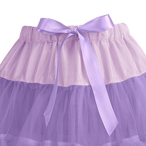 IVNIS RS90010 Women's Petticoat Tutu Skirt 2 Layered Ballet Dance Pettiskirt Mini Skirt Lavender S by IVNIS (Image #4)