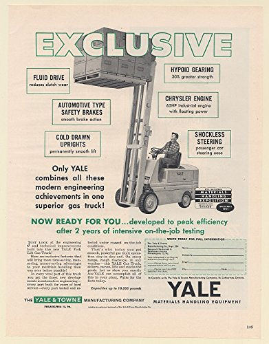 1951 Yale Fork Lift Gas Truck Modern Engineering Achievements Yale & Towne Print Ad (63917) (Lift Truck Forks)