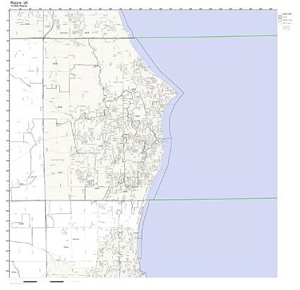 Racine Wisconsin Map.Amazon Com Racine Wi Zip Code Map Not Laminated Home Kitchen