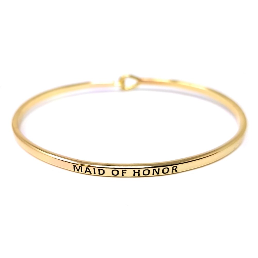 Me Plus Inspirational ''MAID OF HONOR'' Positive Message Engraved Thin Bangle Hook Bracelet (Gold, brass)