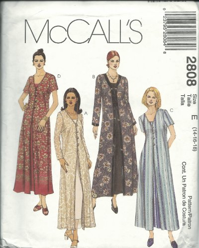 McCall's 2808E Sewing Pattern Misses Duster & Dress Size 14-18 ()