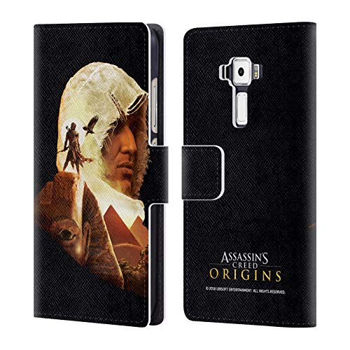 Official Assassin's Creed Bayek Sphinx Origins Character Art Leather Book Wallet Case Cover for Zenfone 3 ZE520KL