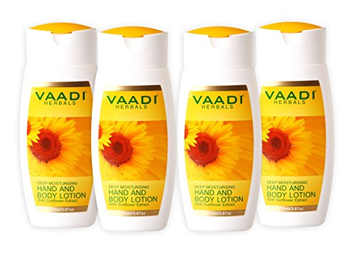 Hand and Body Moisturizer Lotion With Sunflower Extract and Fig 15 Ounces Pack of 4 X 110 Milliliter – Excellent Emollient Lotion – Make Your Skin Softer, Smoother and Healthy – Suitable for All Skin Types – Vaadi Herbals