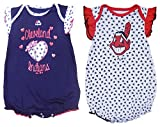 Cleveland Indians Girls Infant Navy White Red Play With Heart 2 Piece Creeper Set