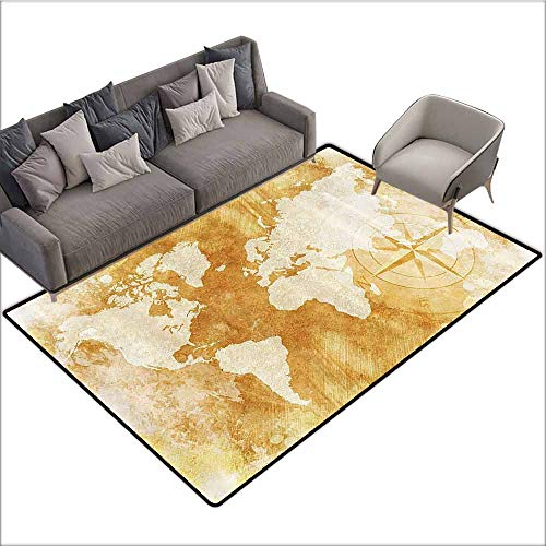 Outdoor Kitchen Room Floor Mat Compass Decor,Old-Fashioned World Map Design with Compass in Retro Distressed Colors Continents Earth,Cream Tan 60