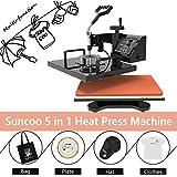 "Heat Press Machine-SUNCOO 5 in 1 Swing-Away Digital Transfer Machine Sublimation T-Shirt Hot Pressing Machine-Multipurpose Mug/Hat Plate/Cap/Ceramic Tiles Press,12x15"" Combo Kit"
