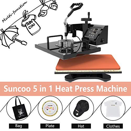 SUNCOO 15x15 Heat Press Machine Professional Digital Transfer Sublimation Hot Pressing Machine- Swing Away,Multifunction T-Shirt/Mug/Hat Plate/Cap Press,Combo Kit 5 in 1